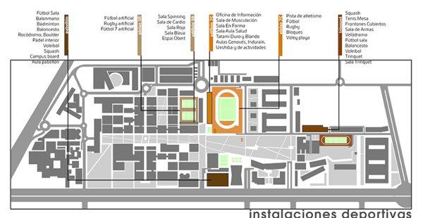 Plano con las instalaciones deportivas del Campus de Vera